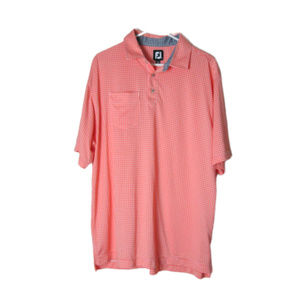 Footjoy fj performance golf shirt coral check